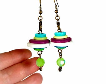 Fun and Funky Earrings, Upcycled Earrings, Button Earrings,  Repurposed Recycled Upcycled Jewelry,  Eclectic Jewelry, Dangle Earrings