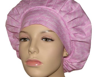 BCA Project Pink Ribbon-Scrub Hats-ScrubHeads-Bouffant Surgical Scrub Hat-Scrub Caps-Awareness Scrub Hats-Surgical Hat-Surgical Cap-Gift