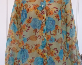 Vintage 1970s Floral Spring Blouse. Sheer Flower Power Blouse. Puff Sleeve Hippy Blouse. Size 14 Medium