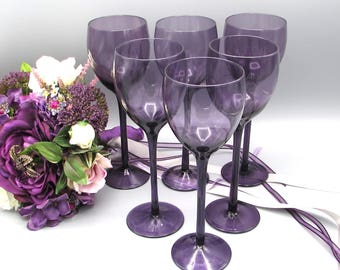 Long Stemmed Purple Wine Glasses, Six Hand Blown Purple Wine Glasses, Wedding Party Glasses