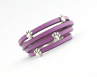 Purple colors Leather Bracelet, Paw Print Bracelet, Cat dog lovers Jewelry, Pet Lover Bracelet, Animal Bracelet, Gift for Animal Lover