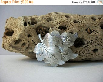 ON SALE Vintage Bright Silver Tone Layered Brushed Metal Leaves Pin 82817