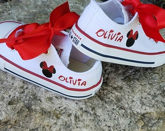 Minnie Converse, Personalized Name, Sparkle Bow, White Shoes, Red Laces, Crystals Option, Infant Toddler, Girls Youth