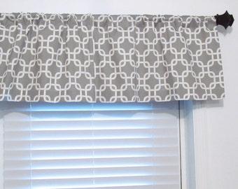 Gotcha Storm Grey Curtain Valance Straight or Gathered Look/  Custom Sizing Available!