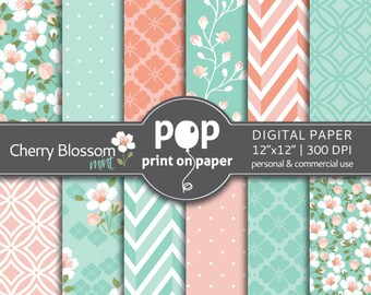 Floral digital paper Cherry Blossom Mint & Peach digital paper, Wedding digital paper, japanese sakura digital paper, spring flowers mint