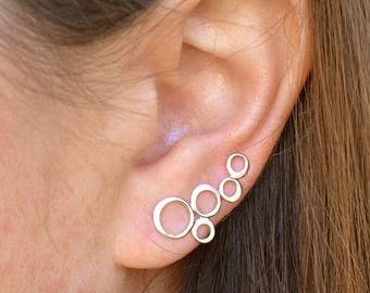 Sterling Silver Ear Climber ~ Bubbles Ear Climber ~ Summer Jewelry ~ Minimalist Jewelry - One Pair