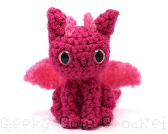 Dark Pink Dragon Plush Toy Stuffed Animal Amigurumi Crochet