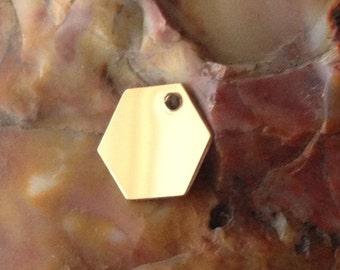Qty 1 - 14K Gold Filled Hexagon Blank Pendant Charm, 11mm, 22 Gauge, Geometric Charm Pendant, Modern, Simple, Customized Blank Tag