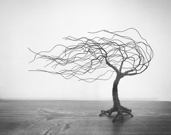 Unique Wind Swept Wire Tree, Stormy Tree Sculpture, Steel Wire Tree Art, Haunting Wire Sculpture, Wire Tree Weeping Willow
