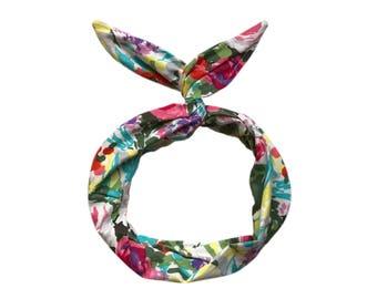 Floral Bouquet Wire Headband- Spring Floral Headband, Colorful Hair Scarf, Headband Turban Boho, Twist Scarf, Headwrap, Turban Headband