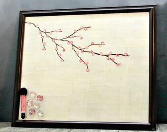 Framed Board, Dry Erase Board, Sakura Decor, Asian Decor, Magnetic Board, Family Message Board, Cherry Blossom, Housewarming, Cherry Branch