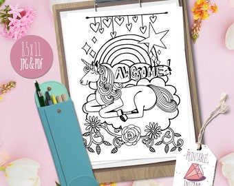 Awesome Unicorn Theme Coloring Page, Instant Download Printable, Party Favor for Girl Birthday Parties! Adult Colouring, Mythical Fantasy