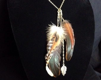 Bronze and natural browns long feather bohemian necklace
