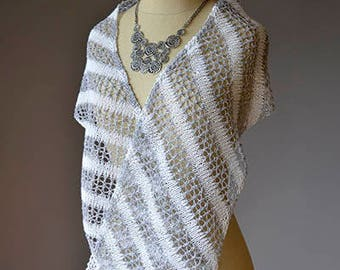 Bias Stripe Flax Scarf Knitting Kit White