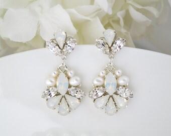 Opal wedding earrings, Opal bridal earrings, Swarovski White Opal drop earrings, Crystal and pearl teardrop earrings, Unique wedding earring