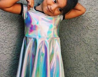 Unicorn Party Holosheen Skater Dress for Girls // Holographic // Iredescent // Alternative Kids Clothing