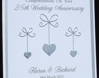 Personalised card, 25th anniversary card, silver wedding anniversary card, silver hearts, UK seller