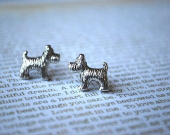 Dog Earrings -- Schnauzer, Scottie Terrier, Studs, Silver Dog Earrings, Little Dog Studs