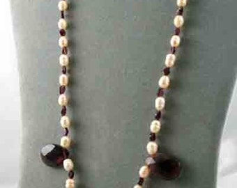 On Sale Handmade Pearl & Purple Floral Glass Pendant Necklace