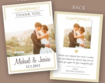 Wedding Thank You Card PSD Template (Instant Download)