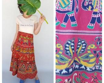 Indian Skirt / Wrap Skirt / 70s Skirt
