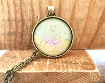 Asia Russia China Globe Pendant Necklace Map World Travel Wanderlust Gift for Traveler Earth Nation