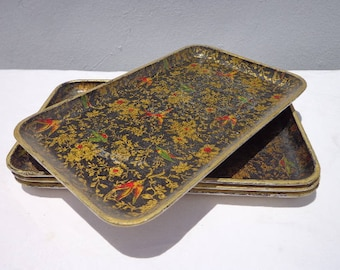 4 Vintage Trays Paper Mache Parisian Cocktail Serving Bohemian Boho Chic Vintage Party Appetizer Food Bar Decor Chinoiserie Shabby Chic