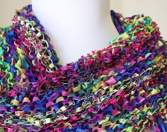 REDUCED! Hand Knit Shawl Wrap Spring Summer Weight - Festival of Flowers