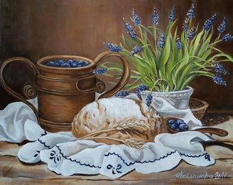 Flemish still life with bread  and blueberry 40x50 cm Oil multy-layered old school painting on canvas Gift for houswarming Living Room Decor