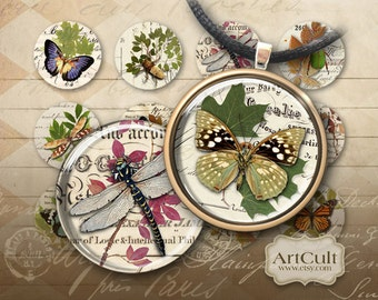 1 inch (25mm) and 1.5 inch size images ENCHANTED FOREST Printable Download Digital Collage Sheet for round glass and resin pendants magnets