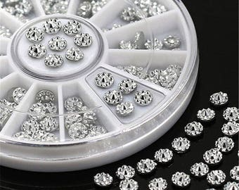 Nail Art Rhinestones, 3D Round Acrylic Studs Crystal, Glitter Rhinestones Studs