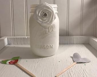 White Chalk  Mason Jar! Ivory jewel rose Wedding , Birthday Party  , Bridal Shower, Home decor , Office,Glass