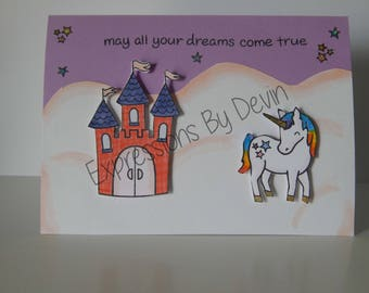 READY TO SHIP  Unicorn and castle dreams come true card (Listing is for 1 card)