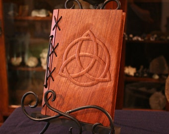 Customizable Wood and Leather Bound Blank Journal - Triquetra