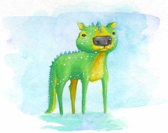 Kevin the Dragon Watercolor Gouache Art