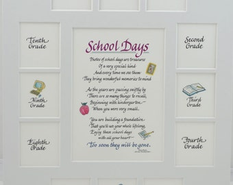 11x14 School Days Picture Mat K-12, 13 Openings, frame NOT included - White Single Mat, White Apple Verse Personalization Available