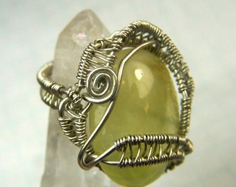 Prehenite and Sterling Silver pinky ring -  wire wrap ring - pinkie ring - size 2 two ring . .Yellow Green pastel stone