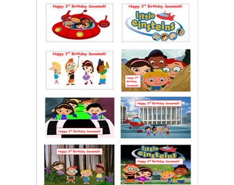 8 PERSONALIZED Printed Little EiNsteins inspired Stickers, Birthday Party Favors, labels, rewards, decals, custom made