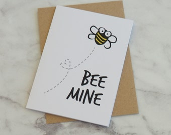 Bee Mine Valentines Love Anniversary Greeting Card