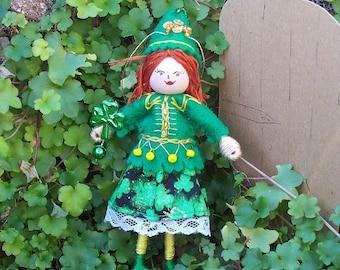 Handmade Felt Doll, Cecile the Celtic Dancer  Hanging Ornament, St Patrick's Day Ornament