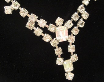 Vintage Rhinestone Necklace  Bridal Wedding Hollywood Glamour Bride Clear Rhinestones