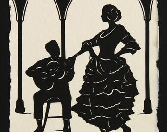 Hand-Cut Papercut Art - Flamenco Dancer Silhouette - A NIGHT in SEVILLE