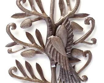 "Nesting Bird Garden Haiti Metal Art 14"" x 17"""