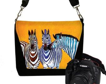 Clara Nilles DSLR Camera Bag Purse Camera Bag Dslr Padded Camera Bag Deluxe Zebras orange zebra stripes colorful RTS