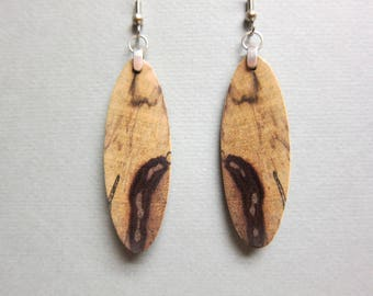 Black and White Ebony Exotic Wood Earrings dangle handcrafted repurposed ExoticwoodJewelryAnd
