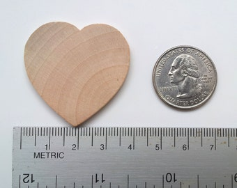 50 Wooden Hearts / 1-1/2 inch x 1/8 thick / 1.5 Inch / Unfinished / Wedding Guest Book / Wedding Favors