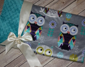 Ready to Ship- Minky Blanket - Owls - Silver and Teal- 27x42- Stroller blanket