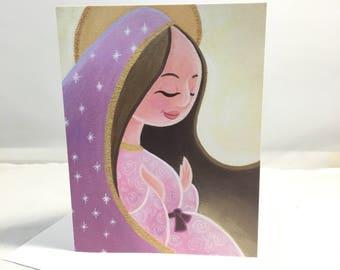 Carte de voeux: Notre Dame de Guadalupe, enceinte, mère de Dieu, Sainte mère, chrétienne, Jésus