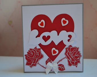 Valentine Red roses and heart card