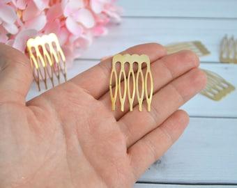 Gold comb Small comb Metal  comb Wedding accessory Hair comb Bridal comb Floral comb Craft supplies Hair comb blanks DIY Hair comb Hair clip
